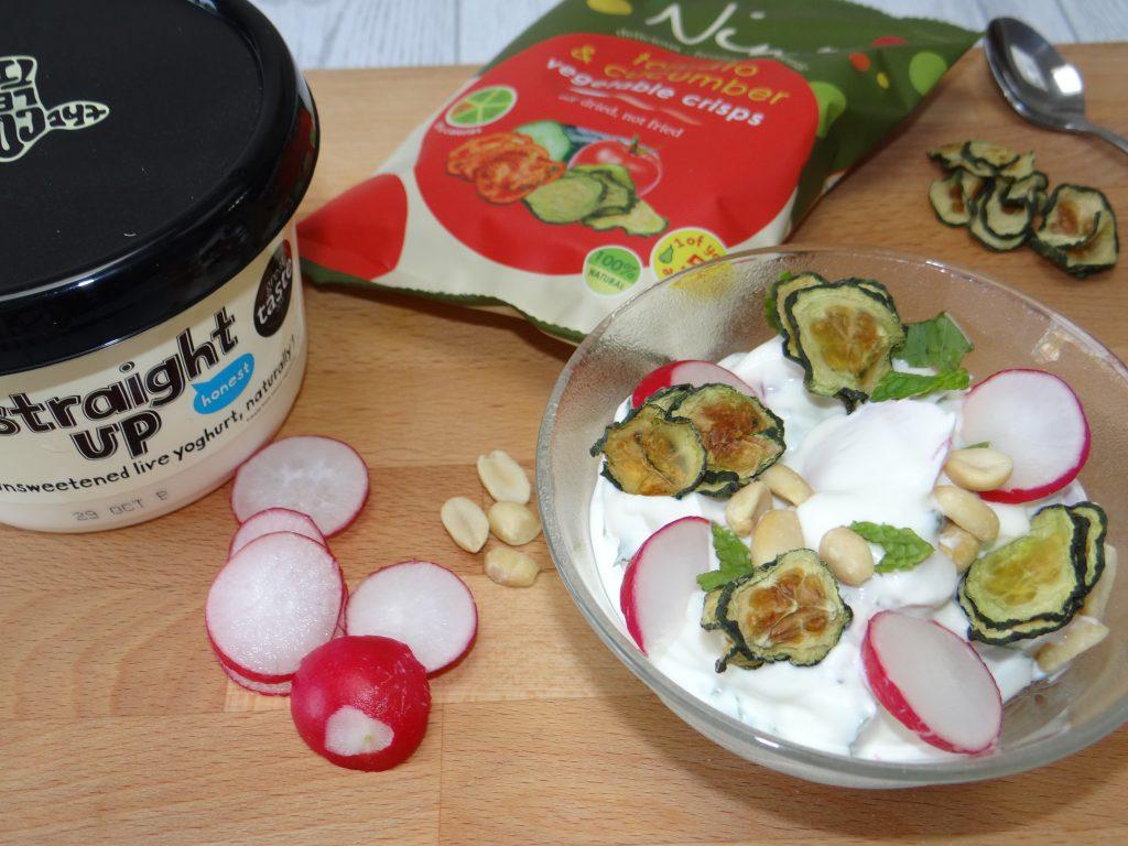 Nim's raita recipe using cucumber crisps peanuts and radishes for extra crunch