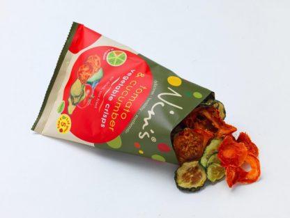 Tomato & Cucumber Vegetable Crisps Open Packet