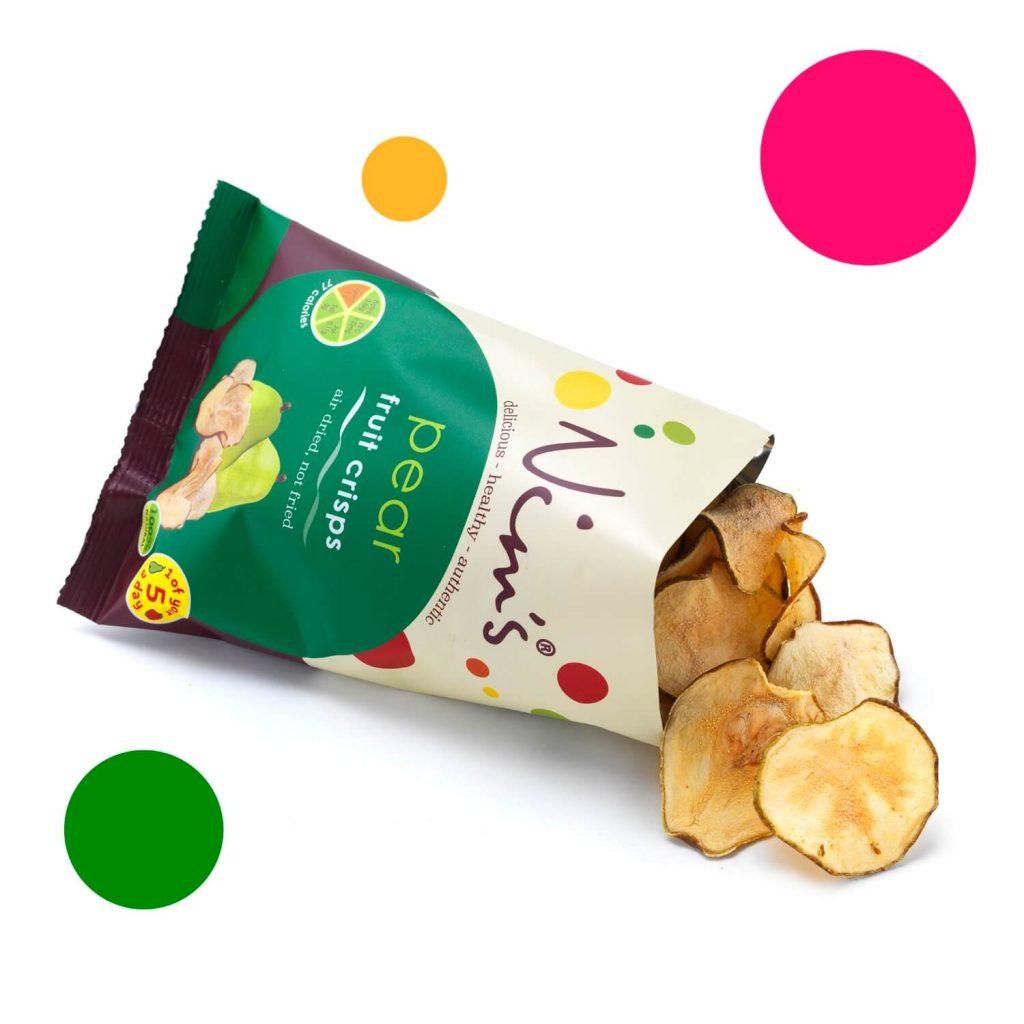 Open Packet of Pear Fruit Crisps